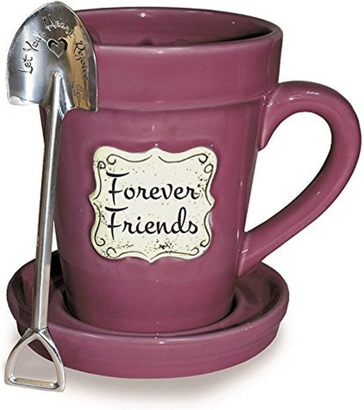 Divinity Boutique Flower Pot Mugs, 14oz, Raspberry-Friends