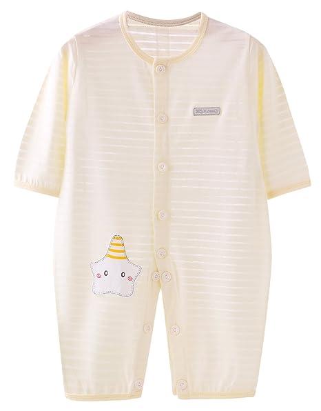 Feoya - Mono Entero Bebé Niña Verano con Mangas Cortas Transpirable Ligero Pijama Niño Cuello Redondo Estampado Lindo para Recién Nacido - 0-3 Meses ...