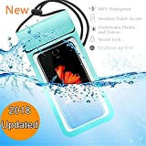 2018 Updated Universal Waterproof Case, IPX8 Waterproof Phone Pouch Underwater New Type TPU Dry Bag for iPhone X, 8, 8 Plus, 7, 7plus, 6, 6s, 6s plus, Samsung Galaxy S9/S9 Plus/s8/s7 Google (Blue)