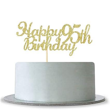 Amazon WeBenison Happy 95th Birthday Cake Topper Gold Glitter