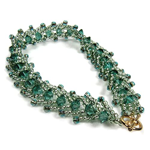 128ba45dd254 Perlas de Cristal Verde Oro Pulsera Tejida a mano japonés 19 cm 7,5 ...