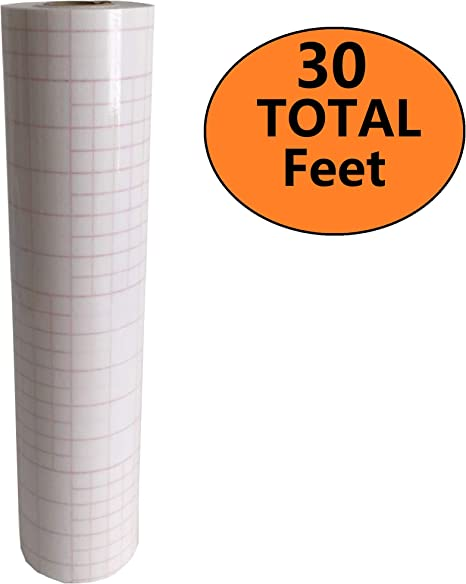 """12/"""" X 30 Feet Roll CLEAR Transfer Tape w// Grid for Adhesive Vinyl"""