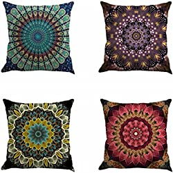 "Set of 4 Retro Floral Mandala Compass Medallion Bohemian Boho Style Summer Decor Cushion Case Decorative for Sofa Couch 18"" x 18"" Inch Cotton Line (Mandala Pattern)"