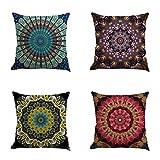 "moroccan themed bedroom Set of 4 Retro Floral Mandala Compass Medallion Bohemian Boho Style Summer Decor Cushion Case Decorative for Sofa Couch 18"" x 18"" Inch Cotton Line (Mandala Pattern)"