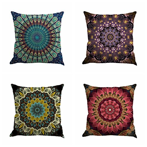 Set of 4 Retro Floral Mandala Compass Medallion Bohemian Boho Style Summer Decor Cushion Case Decorative for Sofa Couch 18