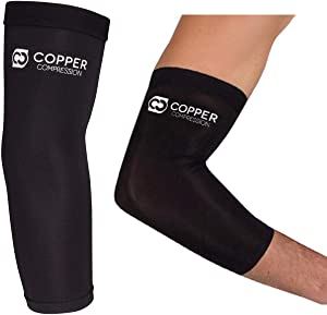 Copper Compression Recovery Elbow Sleeve - Guaranteed Highest Copper Content Elbow Brace for Tendonitis, Golfers or Tennis Elbow, Arthritis. Elbow Support Arm Sleeves Fit for Men and Women (2X-Large)