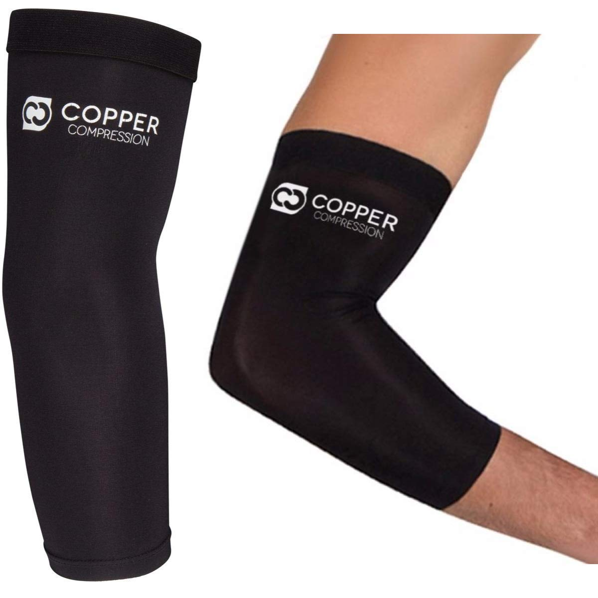 Copper Compression Recovery Elbow Sleeve - GUARANTEED Highest Copper Content Elbow Brace For Tendonitis, Golfers Elbow, Tennis Elbow, Arthritis. Copper Infused Fit Elbow Support Arm Sleeves Men Women