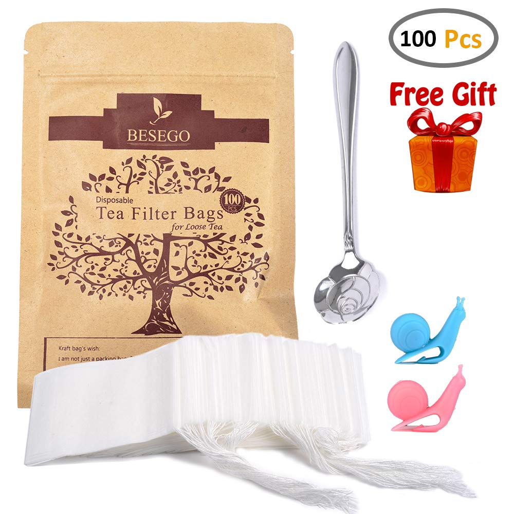 Besego 100Pcs Drawstring Tea Filter Bags with Spoon and Cup Clip, Safe & Natural Material, Disposable Empty Tea Infuser Bag for Herb and Loose Leaf Tea, 1-cup capacity (2.4×3.2in)