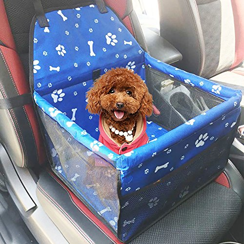 URIJK Deluxe Portable Pet Dog Booster Car Seat - Dog Carrier Safety Stable for Travel Look Out and Zipper Storage Pocket - Pet Booster Carrier with Cushion for Small Medium - 30 Car And Lbs Seats Booster Up