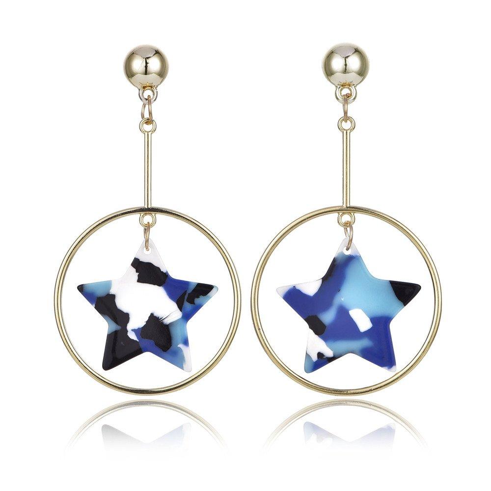 Star Dangle Earring Resin PVC Fashion Jewelry Gift For Women Girl