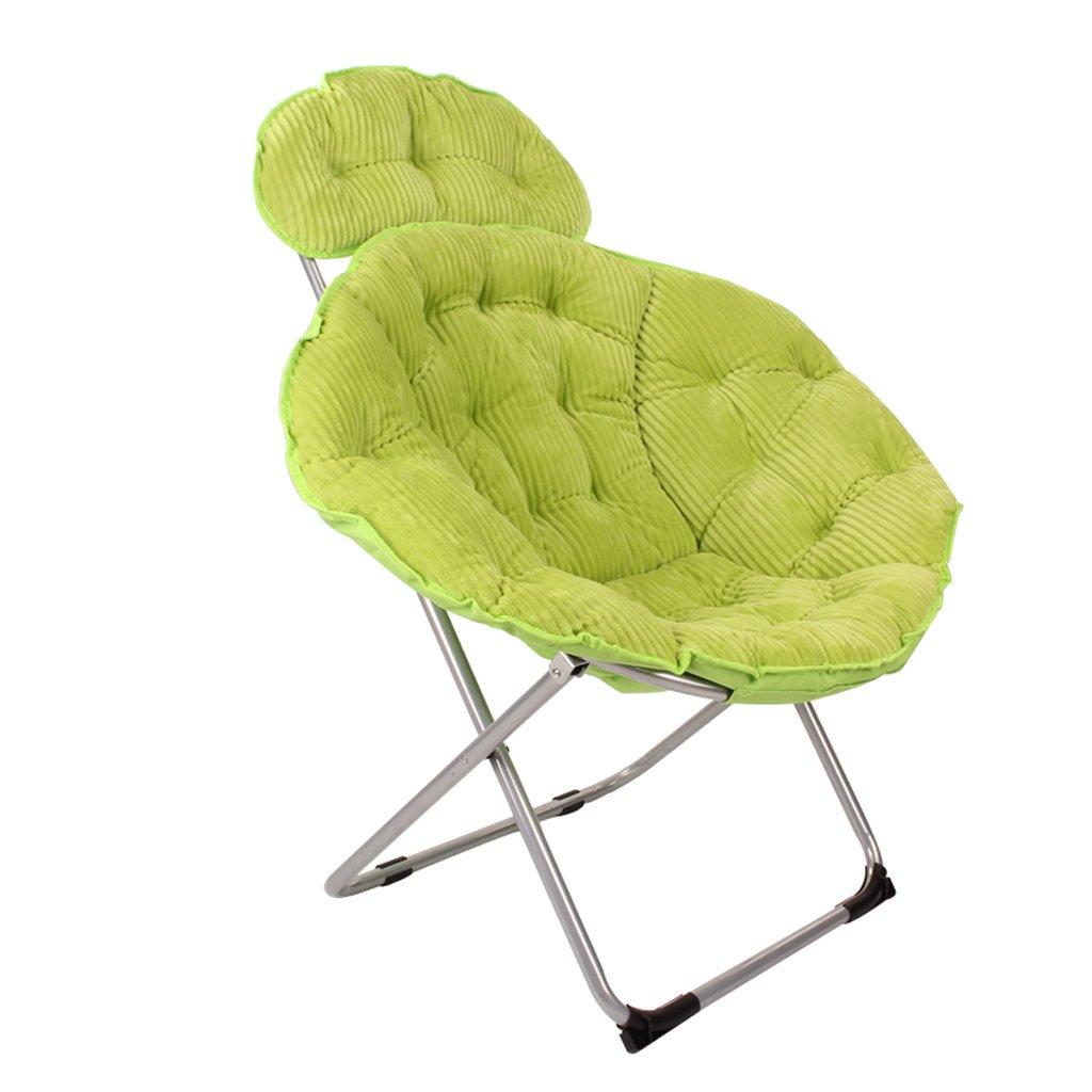 大人のムーンチェア、折りたたみチェア、怠惰な椅子、アームチェア、ソファーチェア、サンラウンジャー、キャンバスコーデュロイ。 (Color : Green) B07D6JCHX7 Green Green