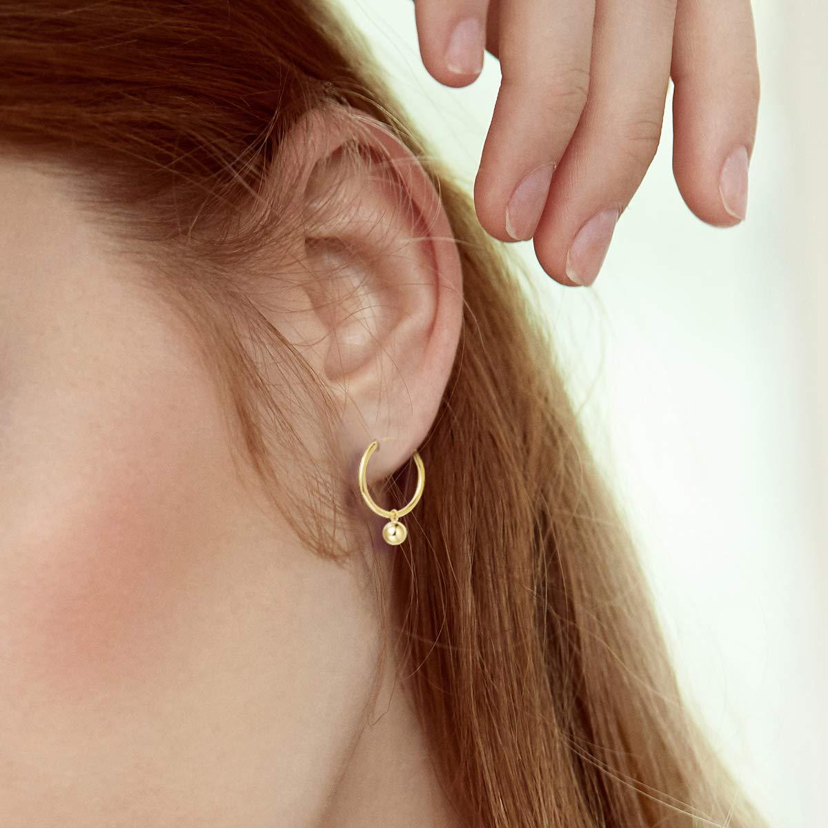 FANCIME Yellow Gold Plated 925 Sterling Silver Round Dangle Drop Hoop Earrings Dainty Fine Jewelry For Women Girls