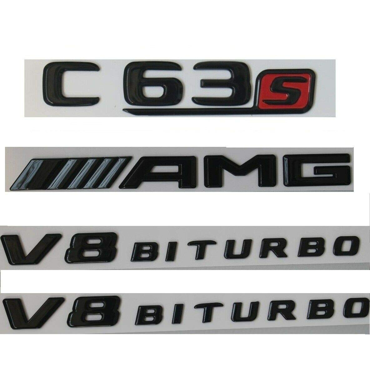 Badges de coffre C63s AMG V8 Biturbo pour Benz W205 Noir brillant