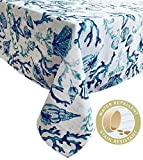 Newbridge Blue Lyra Coral Reef Summer and Spring Indoor/Outdoor Soil Resistant and Water Repellent Fabric Tablecloth - Patio, Picnic, BBQ, Kitchen Table Linens. 60 Inch X 84 Inch Oblong/Rectangular