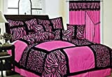 7-Piece Safari Zebra & Giraffe Print Comforter Set Micro Fur Bed In a Bag (Pink, King)