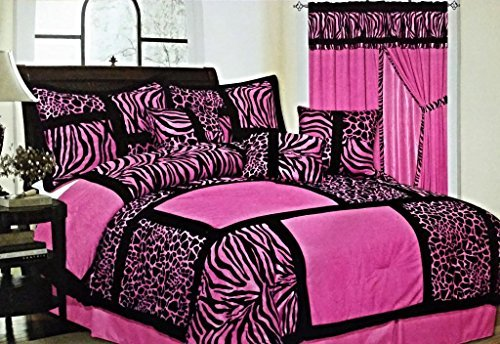 (7-Piece Safari Zebra & Giraffe Print Comforter Set Micro Fur Bed In a Bag (Pink, Queen))