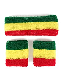 Rasta, Jamaican Colored Head and Wristband Combo 3 Piece Set