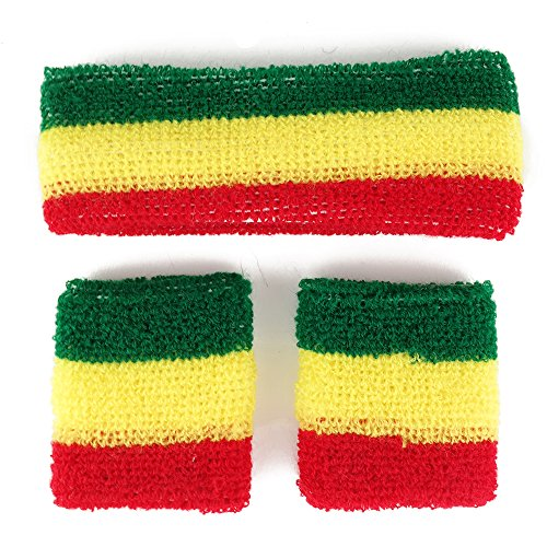 Rasta, Jamaican Colored Head and Wristband Combo 3 Piece Set - RGY