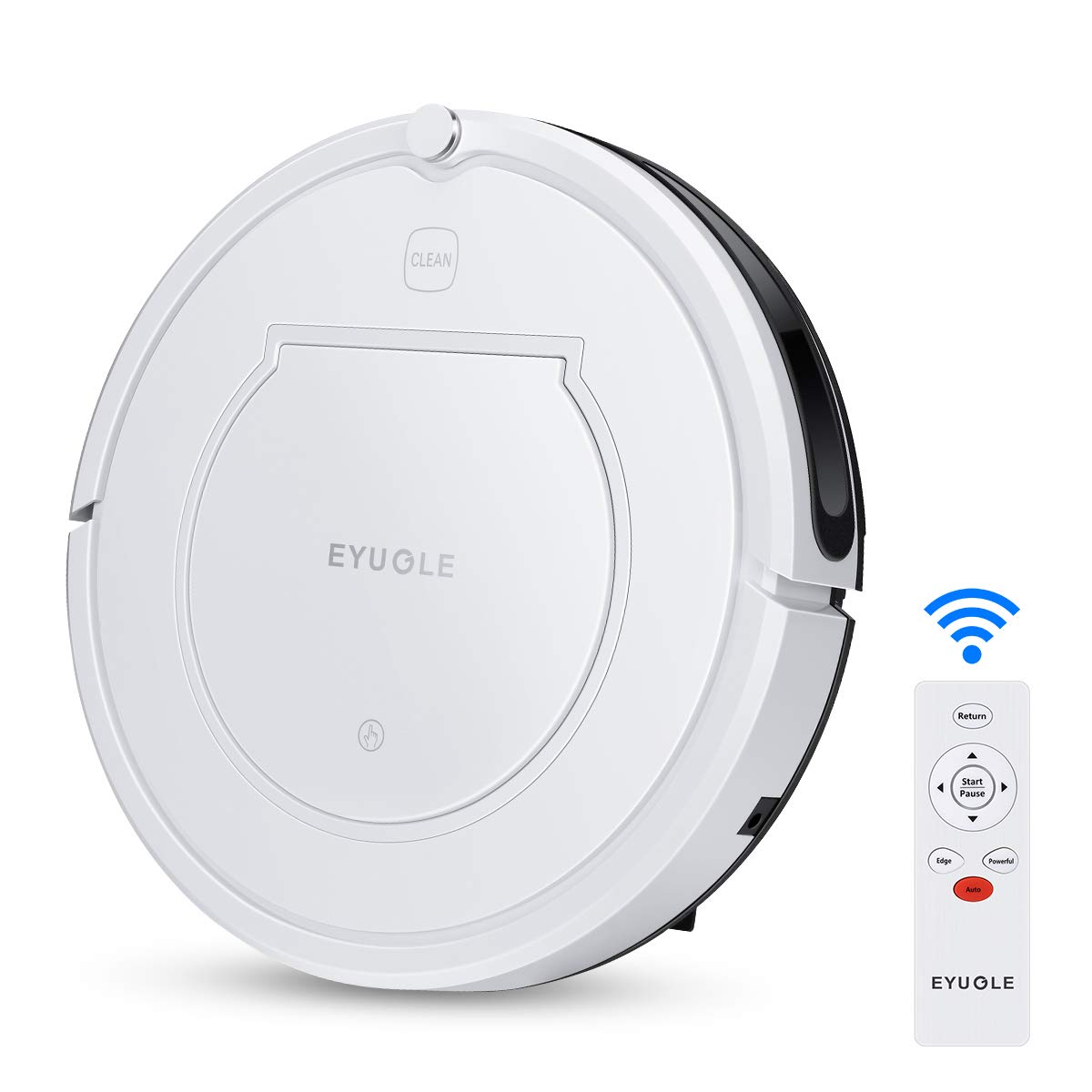 EYUGLE Robot Vacuum Self-Charging Cleaner and Mop w/Dock Station, Power Suction, Slim Design, Remote Control, Anti-Drop, HEPA Filter Good for Pet Hair, Thin Carpets and Hard Floors(KK320A1N)