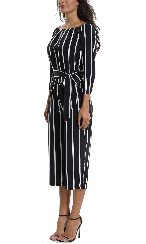 MISS MOLY Femme Robe sans /épaule Manches 3//4 Combinaison de Travail Courte Combinaison g/én/éral El/égant avec Ceinture /à Nouer
