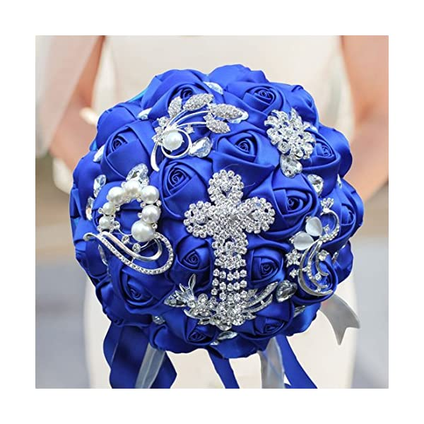 S-SSOY Customizable Romantic Wedding Bouquets Silk Flowers Bridal Holding Roses Bride Bridesmaid Brooch Bouquet with Pearl Diamond Crystal Ribbon Valentine's Day with Free Corsage (Blue)