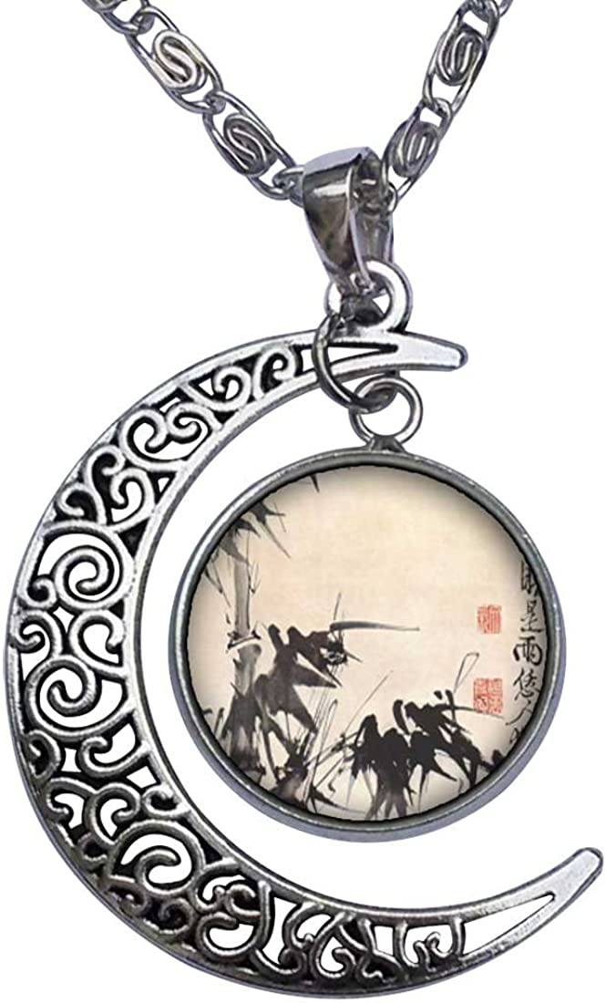 GiftJewelryShop Art of Chinese Bamboo Painting Crescent Moon Galactic Universe Glass Cabochon Pendant Necklace