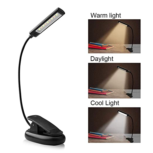 Leselampe , solawill LED Klemmleuchte mit 9 LEDs USB Wiederaufladbare LED Buchlampe 3 Helligkeit 360° Flexibel Leselampe Buch