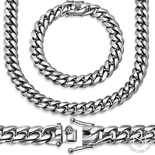Sterling Manufacturers Premium Hand Polished Stainless Steel Heavy Solid Miami Cuban Link Chain with Secure Box Lock. Available in Widths 6MM, 8MM, 10MM, 12MM, 14MM, 18MM (18.00, 12MM) ()