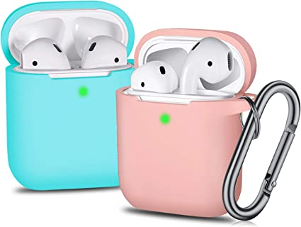 Laffav Airpods Case Soft Silicone Protective Shockproof Wireless Charging Airpod Earbuds Case Cover Skin with Keychain kit Set for Apple AirPods 1 /& 2 Sand Pink Black 2 Pack