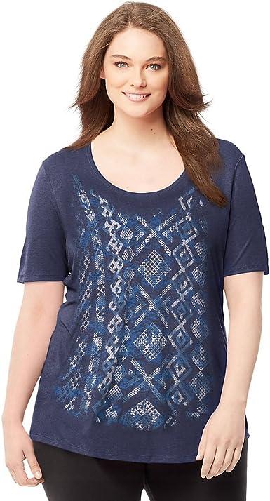 Just My Size Womens Plus-Size Solid Split Neck Shirttail Hem Tee Shirt