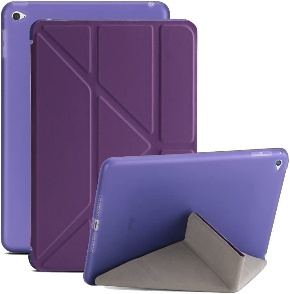 iPad Mini 4 Case, Soundmae Lightweight Slim Origami Smart Protective Cover with Multi-Angle Stand and Auto Wake/Sleep Feature for iPad Mini 4 - Purple