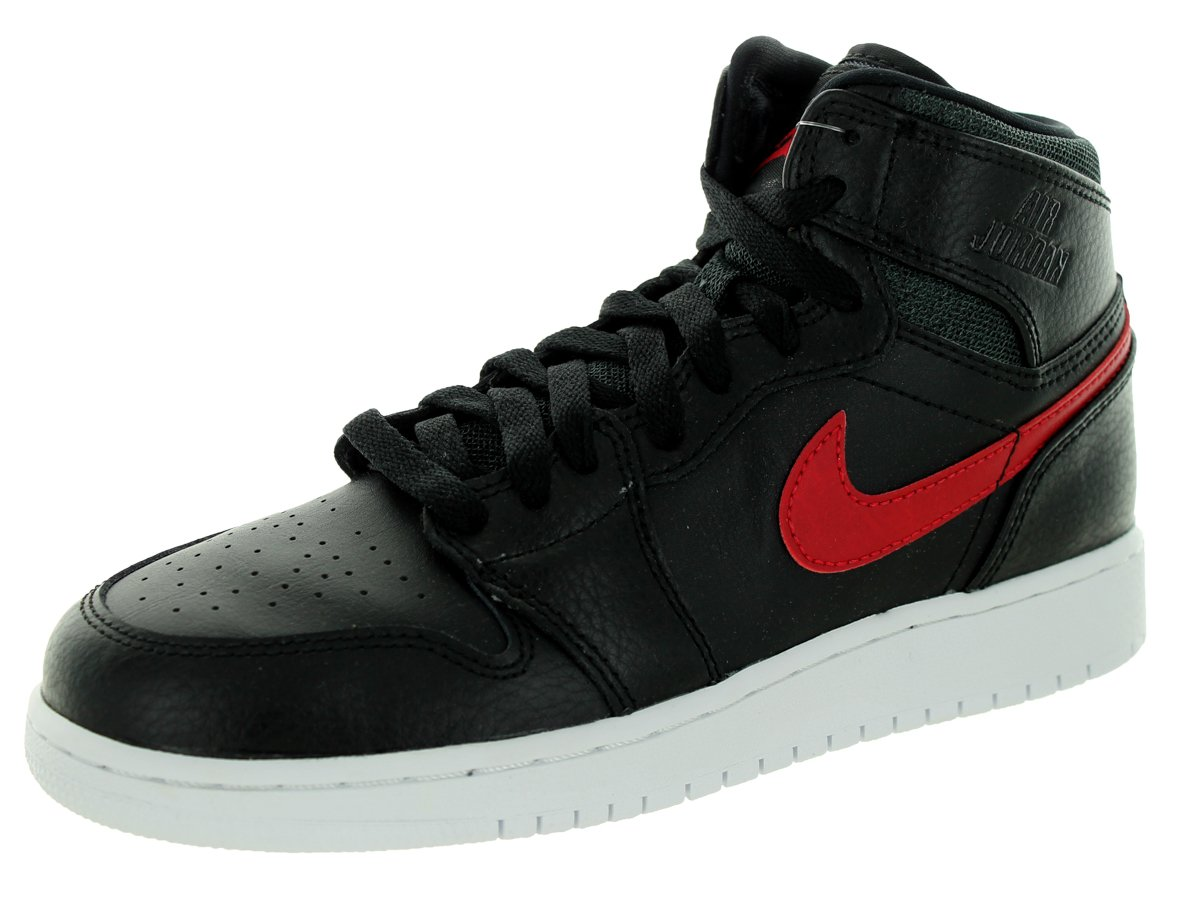 Jordan Nike Kid's Air 1 Retro High BG Black/Gym Red/Black/White Basketball Shoe 6.5 by Jordan