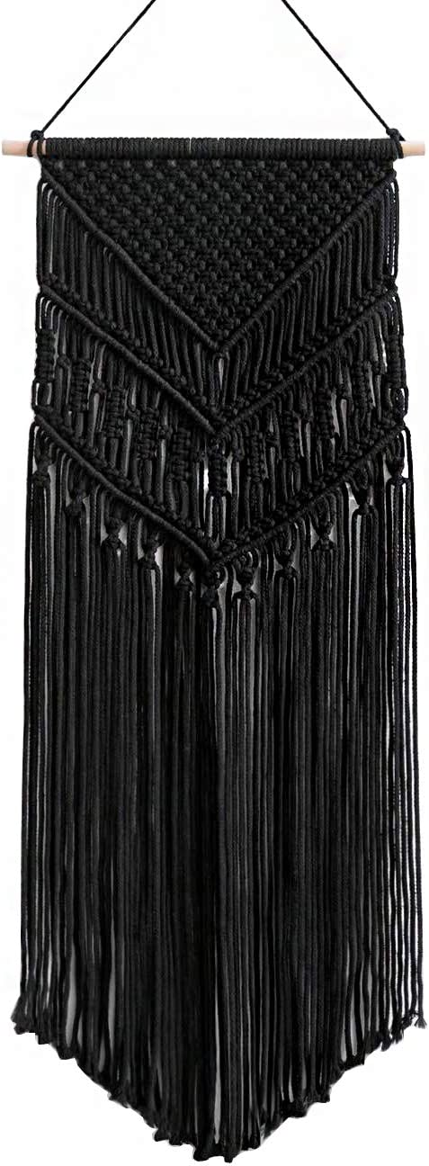 Oululu Macrame Wall Hanging - Cotton Rope Woven Tapestry Boho Chic Home Decoration(Black, 14