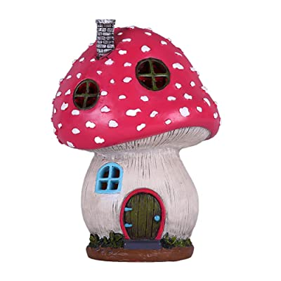 TERESA'S COLLECTIONS Mushroom Fairy Garden House Statue Accessories with Solar Light, Fairy Garden Cottage Figurines Sculptures for Outdoor Decoration (Resin) : Garden & Outdoor