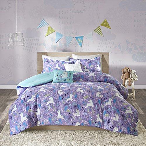 Urban Habitat Kids Lola Full/Queen Comforter Sets for Girls – Purple, Aqua, Unicorns – 5 Pieces Kids Girl Bedding Set – 100% Cotton Childrens Bedroom Bed Comforters