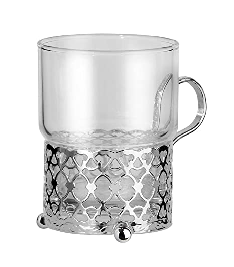 Moroccan Style Tea Glass And Silver Plated Holder With Special Tarnish Resistant Finish That Never Needs Polishing