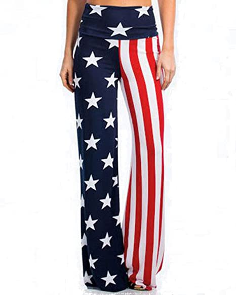 d4a30d7308a4c GAMISS Womens American Flag Pants Wide Leg High Waist Palazzo Lounge Yoga  Pants Leggings Blue Red