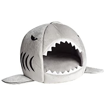 Free Fisher Suave Cama para Perro Gato con Cojín Extraíble en Forma de Tiburón Casa de Mascotas: Amazon.es: Productos para mascotas