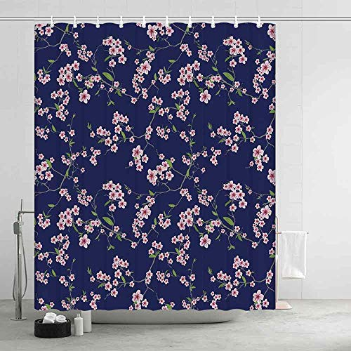 YOLIYANA Navy and Blush Distinctive Shower Curtain,Blossoming Sakura Cherry Branches Chinese Asian Kimono Pattern for Men Women,74.8