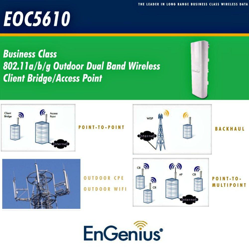 Engenius EOC5610 600mW 11a/b/g Outdoor Dual Band Client Bridge/Access Point POE