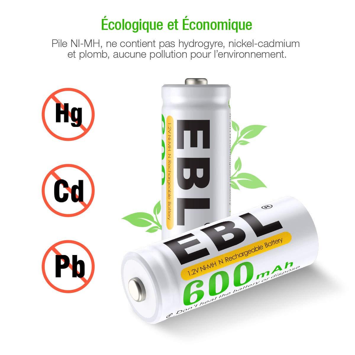 EBL Lot de 4 Type N Piles Rechargeables 600mAh NI-MH LR1/ E90/ MN9100 pour Sonnerie, Lampe de Poche, Jouet, etc. avec Boîte de Rangement