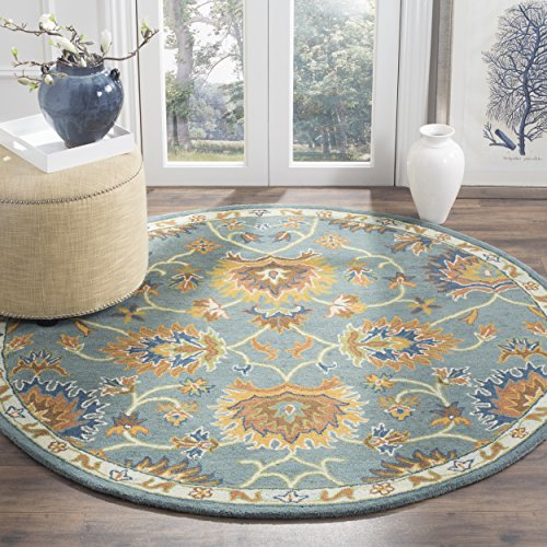 Safavieh Heritage Blue Rug (Safavieh Heritage Collection HG651A Handcrafted Traditional Light Blue Premium Wool Round Area Rug (6' Diameter))