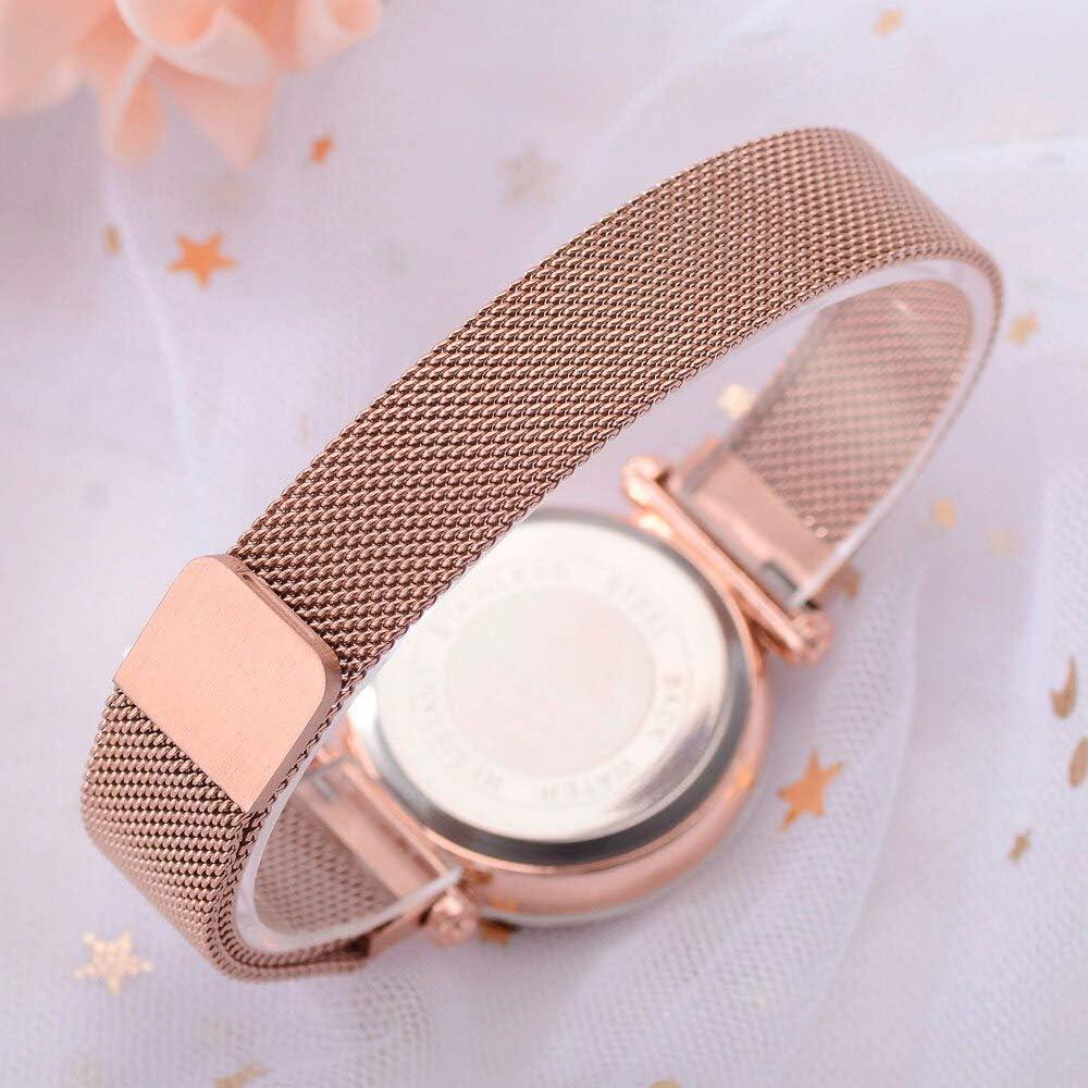DJxqJ orologio Scatola da orologio casual da donna con cinturino magnetico in acciaio inossidabile con cinturino a maglie in acciaio inossidabile Brown
