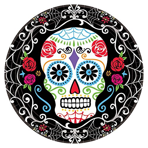 amscan Day of The Dead 734; Dessert Plates (18 Pack) -