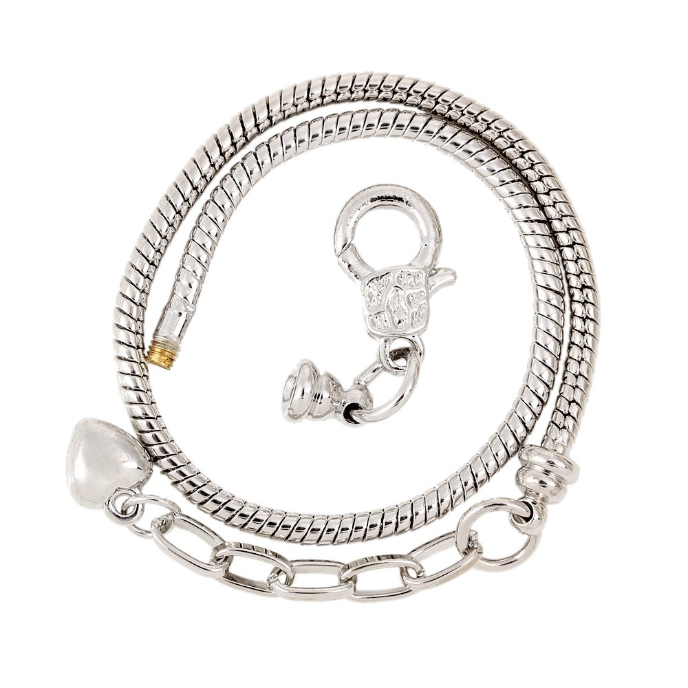 RUBYCA 5pcs Silver Color Heart Lobster European Style Snake Chain Bracelets fit Charm Beads 8.7''
