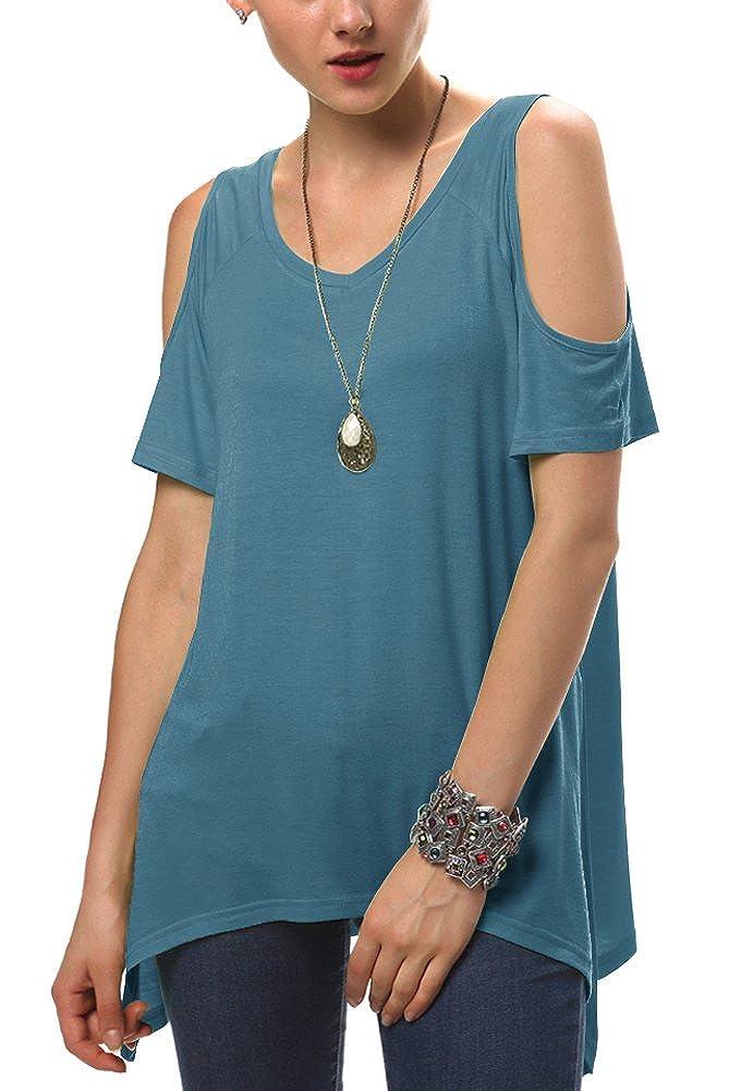 Urban GoCo Mujeres Casual Tallas Grandes Camiseta Slim Fit V Cuello Off Shoulder Túnica Tops: Amazon.es: Ropa y accesorios