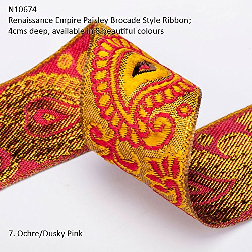 Neotrims Wide Sari Decorative Shimmer Ribbon Paisley Brocade 6cms Deep. Traditional 9 meters Reel for Sari Border. Also for Salwar Kameez, Crafts & Home Interior Décor. 4 cms Deep Border, Vibrant Bright with Metallic Gold Two Tone Base,8 Stunning colours! Buy by the 3 meter or 1 reel of 9 meters Sari length. Bargain Price for 1 Reel! - Brocade Metallic Jacquard Trim
