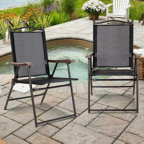 Stark Item Set of 2 Patio Folding Sling Back Chairs Camping Deck Garden Pool Beach Black (Umbrella Beach Near Me)