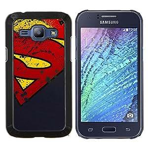 Qstar Arte & diseño plástico duro Fundas Cover Cubre Hard Case Cover para Samsung Galaxy J1 J100 (Grunge S Superhero)