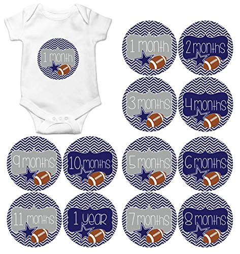 - Gift Set of 12 Round Keepsake Photography Monthly Baby Stickers with Dallas Texas Cowboys Football MOSB099